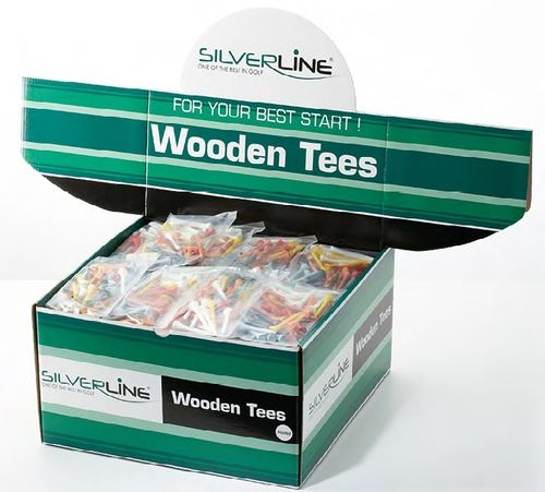 Silverline Wooden Tees 2 1/8 inch Holztees 54 mm Bunt 40-er Packung